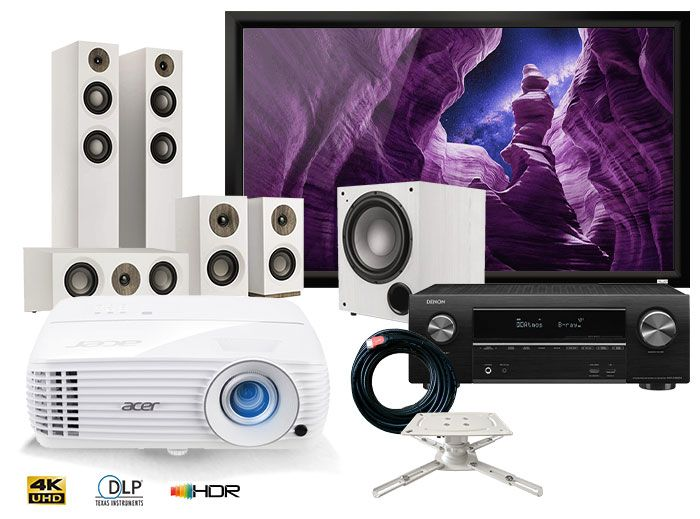 Acer H6810BD 4K Projector Denon AVR-X1600H Receiver Jamo S807 5.1 Speakers & Elegance Screen Complete Home Theatre Package - White
