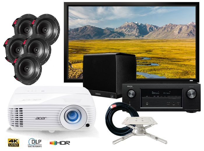Acer H6810BD 4K Projector, Denon AVR-X1600H Receiver, PSB CS805 5.1 Speakers Complete Home Cinema Package