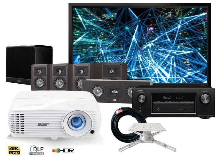 Acer H6810BD 4K Projector, Denon AVR-X1600H Receiver, JBL Studio 210 5.1 Speakers Complete Home Cinema Package