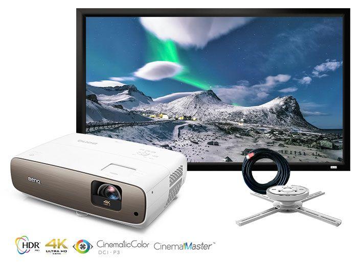 BenQ CinePrime W2700 True 4K UHD Home Cinema Projector Package