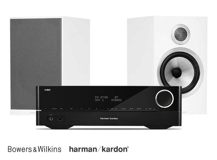 Harman Kardon HK 3700 Receiver and Bowers & Wilkins 706 S2 Bookshelf Speakers Hi-Fi System