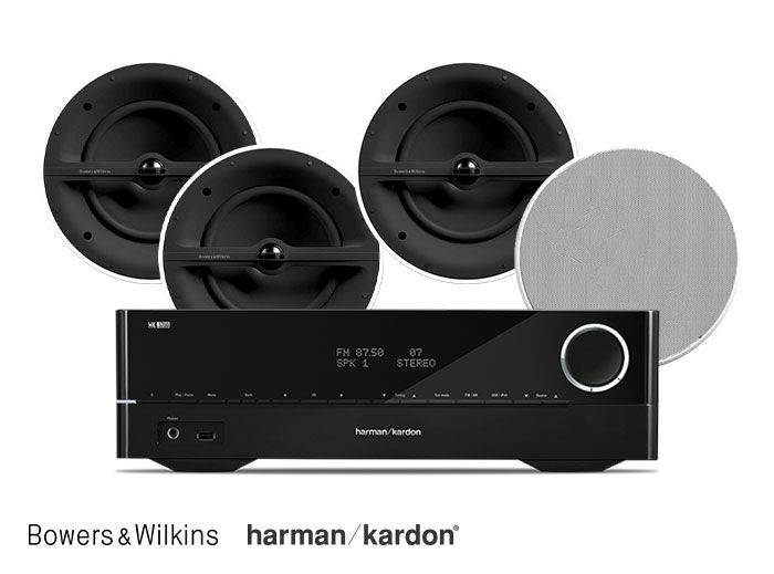Harman Kardon HK 3700 Receiver and Bowers & Wilkins CCM362 6-Inch In-Ceiling Speakers Hi-Fi System