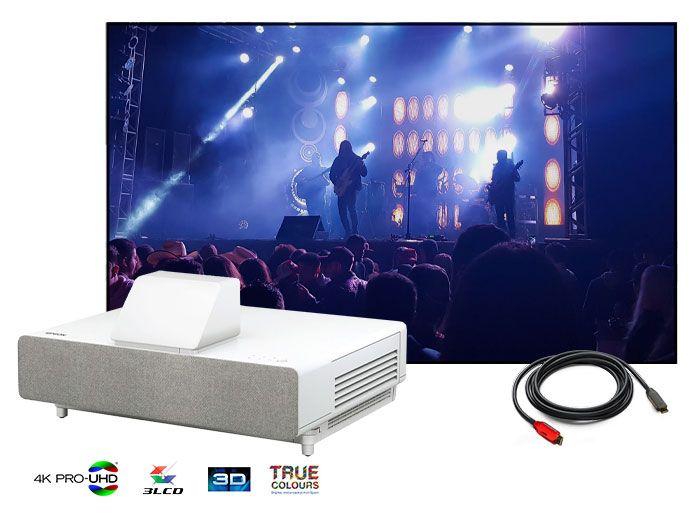 Epson LS500 4K PRO-UHD Projector & Carson Twilight ALR 4K/8K UST Laser LED Screen Home Cinema Projector Package