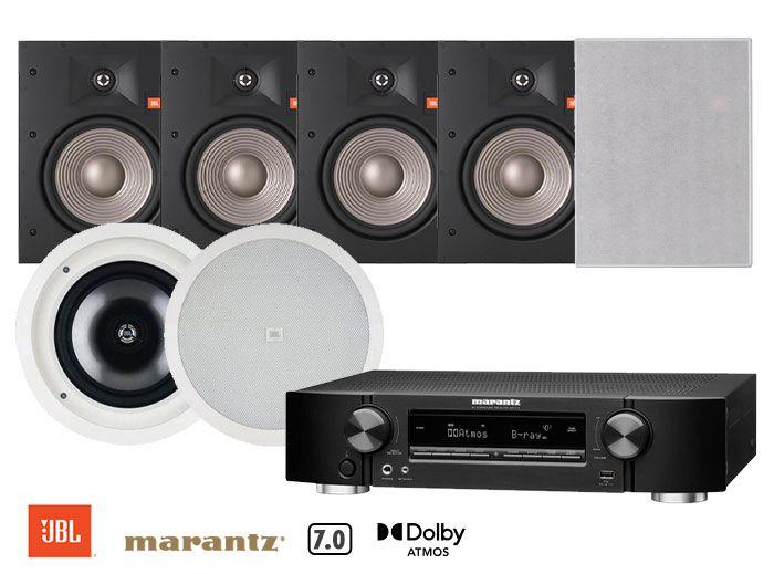 Marantz NR1711 Receiver, JBL Studio 2 8IW & SP8CII 8-Inch Architectural Home Theatre Speakers Package